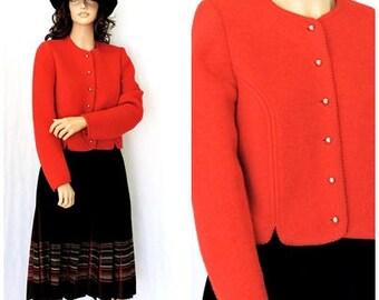 Vintage 80s red virgin wool jacket / size M / 1980s Allen Lolly wool sweater blazer / retro cherry red wool jacket / SunnyBohoVintage