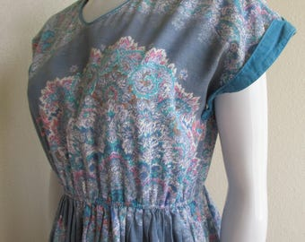 vintage 1980s paisley blue silver sparkle summer dress-  small