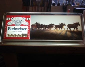 Rare Vintage Budweiser Clydesdale horses lightbox beer collectible