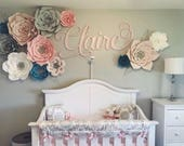 12 pc Paper Flowers, Nursery, Nursery Room, Customize your colors!