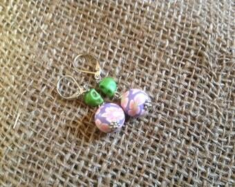 Day of the Dead earrings, lever back, green skulls