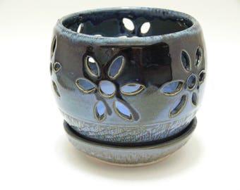 small blue orchid pot-ceramic orchid pot-handmade orchid pot-orchid pot-SierraAvisPottery