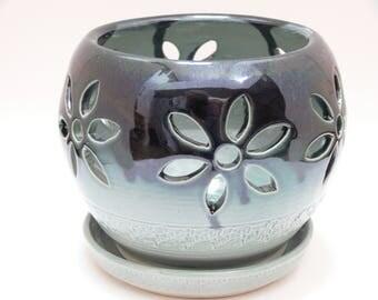 Blue green orchid pot - ceramic orchid pot -handmade- stoneware - orchid pot - SierraAvisPottery