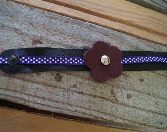 Black and Purple Leather Bracelet