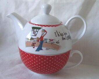 Polka Dot Nesting Teapot-for-One Set - I Kiss Better Than I Cook c.1980