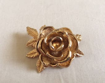 Vintage Sarah Coventry Gold Rose Brooch Pin