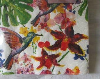 multicolored birds pattern paper napkins