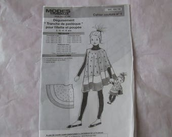 Notebook sewing costume out slice of watermelon girl and Doll