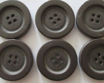 1 set of 6 round Brown buttons 4 hole