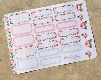 Rose Parade Rounded Corner Half and Quarter Box Set Planner Stickers for use with inkWELL Press   Happy Planner   travelers Notebook
