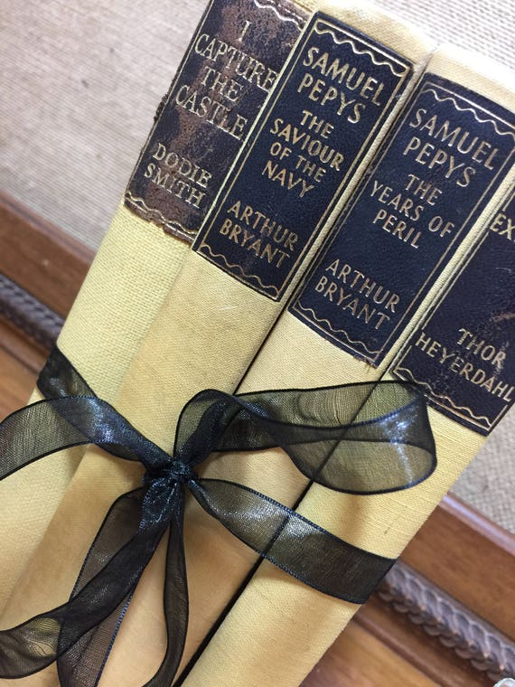 MUSTARD YELLOW BOOK stack - Vintage Books - Old Books Decoration - Interior Design Shelf Staging - Pale Yellow Home Decor - Mustard Decor