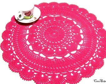 Crochet Hot Pink doily, Large doily, Pink doily, Table decorations, Centrino grande fucsia