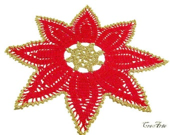 Red Crochet Christmas Doily, Red and Gold Doily, Table Decoration, Centrino Natale