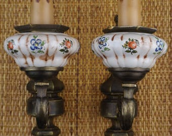 Pair of wall lamps made of earthenware and metal made in France vintage / antique wall lamps pair