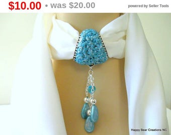 SALE Aqua Scarf Jewelry - Pendant for scarf - Scarf Necklace - Aqua Faux druzy stone Scarf Bail - Fancy glitter bail for scarf - Gift for...