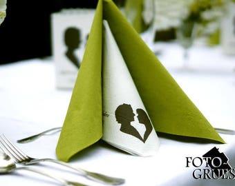 Napkin printed on your photo, photo print, photo napkin, rump, wedding, wedding logo, bride and groom, name and Monogram me, start from 60 units