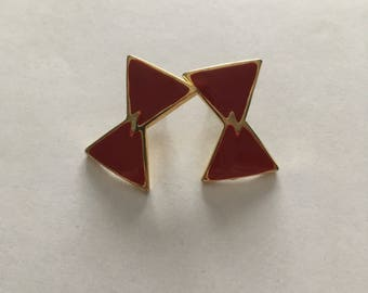 Red and Gold Vintage Earrings