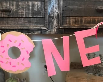 Donut party decor , first birthday, High Chair banner
