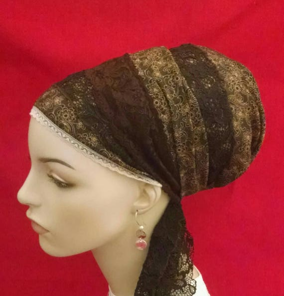 Luxurious silky browns and lace sinar tichel, tichels, head scarves, chemo scarves, head wraps, mitpachat