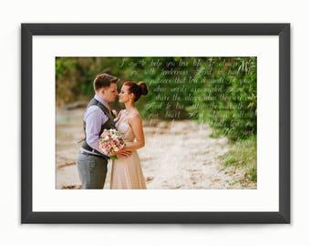 Wedding Song Lyrics Photo Print or Vows - Custom Personalised Wedding Photo Art - Anniversary/Valentine's Day Gift - Digital Printable
