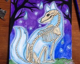 Ghost Fox - Original Art - Mixed Media, Paint, Watercolor, Ink, Ghost, Spooky, Fox, Mystical, Fantasy, Supernatural, Spirit,