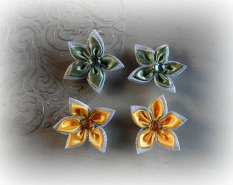 4 flower appliques to glue or sew green and yellow color 5.5 cm