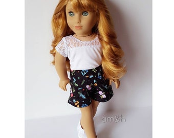 18 inch doll clothes black floral shorts