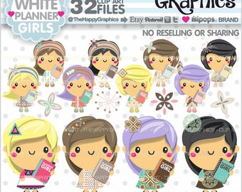 80%OFF - Planner Girl, Clipart, Planning Graphics, COMMERCIAL USE, Planner Party, Planner Accessories, Kawaii Clipart, Kawaii Clip Art, Boho