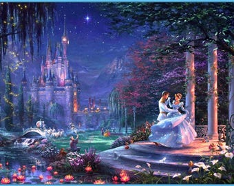BUY 2 GET 1 FREE! Cinderella Dancing with Prince 335 Cross Stitch Pattern Counted Cross Stitch Chart, Pdf Format, Instant Download /358242