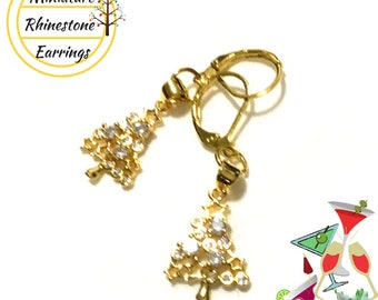 Tiny Rhinestone Christmas Tree earrings, Miniature, Delicate and Sparkly, Great Gold Xmas Earrings, Girlfriend Gift, Student Gift