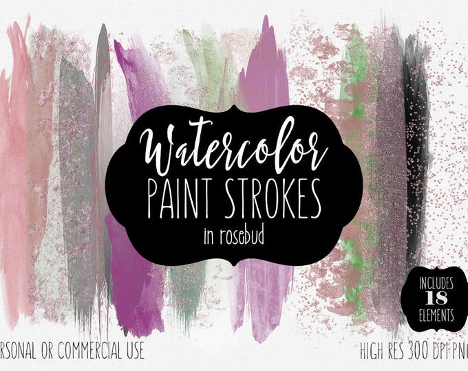 PURPLE WATERCOLOR BRUSH Strokes Clipart Commercial Use Clip Art 18 Paint Rose Gold Green & Metallic Pink Confetti Textures Logo Graphics