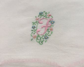 Vintage pillowcase white on white monogram F