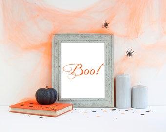 Instant Download, Boo! Halloween Sign, Halloween Decorations, Halloween Print, Boo! Wall Art