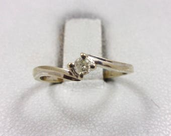 Solid 14K White Gold 0.06 Carat Diamond Ladies Solitaire Ring 1.2 grams, Size 4