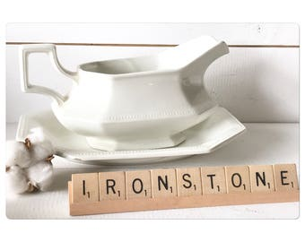 Ironstone gravy boat with underplate