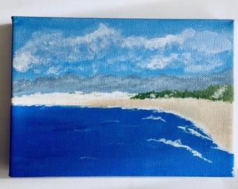 The shoreline original acrylic painting 5x7