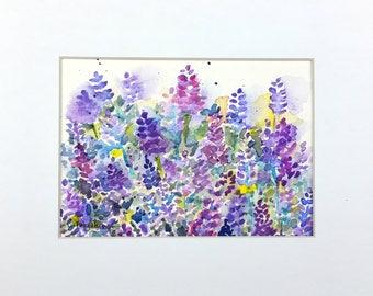 SALE, Lavender Art, Lavender Watercolor, Lavender Painting, Original Watercolor, Floral Watercolor, Home Decor, Gift