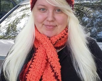 Winter cap and keyhole scarf set crochet  hand made
