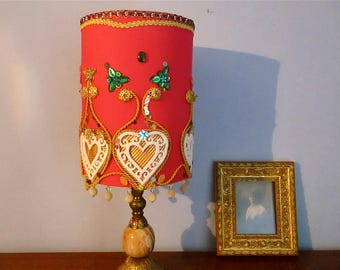 Colourful,Pink lampshade,custom handmade,shabby chic lampshade,accent lamps,boudoir lamps,ornate jewelled beaded lampshade,bedroom,exotic