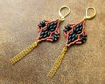 """Earrings dangling """"Arcane"""", Brown, black and gold"""