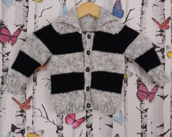 Aran Cardigan, 1 Year Old Cardigan, Baby Boy, Handmade, Hand Knitted, 1 Year Old, Knitted Cardigan