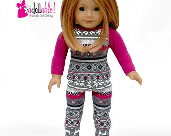 American made Girl Doll Clothes, 18 inch Doll Clothing, Winter Pajamas Outfit made to fit like American girl doll clothes