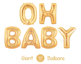 """Giant OH BABY Balloons -  40"""" Inch Gold Mylar Balloons in Letters O-H-B-A-B-Y  - Metallic Gold - Baby Shower Balloons, Baby Shower Decor"""