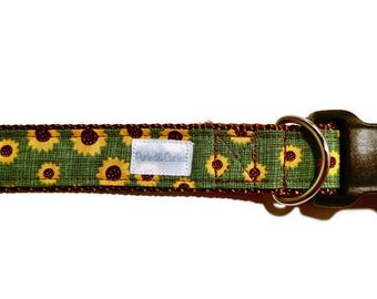 Sunflower Dog Collar, Green Dog Collar, Girl Dog Collar, Fall Dog Collar, Sunflower Cat Collar, Green Cat Collar, Girl Cat Collar