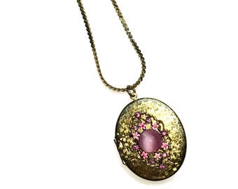 Locket Necklace,  Pink Moonglow, Rhinestone, Enamel, Monet Chain Gold Tone