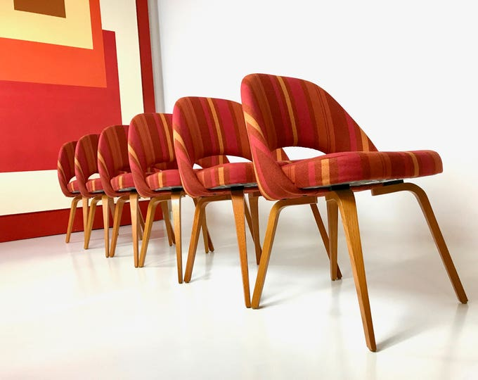 6 Authentic Executive Side Chair by EERO SAARINEN for KNOLL Bent Wood Base