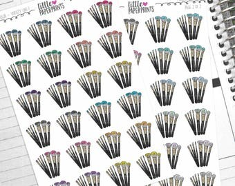 "48 Make-Up Brush Stickers - ""Makeup Brushes"" Stickers - Multi Color Variety Line 1 Decorative Planner Stickers"