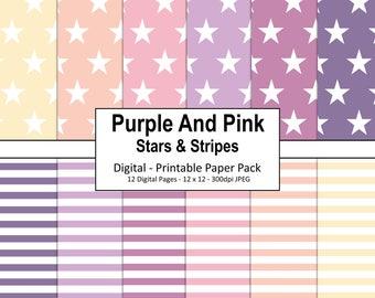 Sale / Pastel Stripes Digital Paper / Commercial Use / Scrapbook Papers / Pastel Background / Stars Digital Paper / Pastel Digital Paper