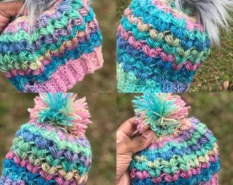 Unicorn inspired crochet beanie/ winter hat/ crochet/ beanie/ faux fur/ pom pom beanie/ pink/ colorful