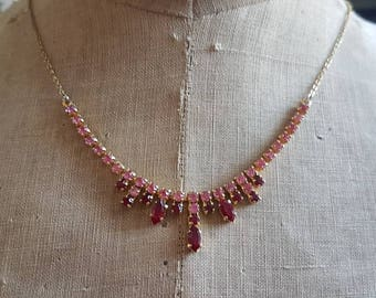 Vintage two tone diamanté Art Deco paste necklace wedding bride